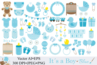 Baby Boy Clipart, Blue Baby Shower Clipart - Vector
