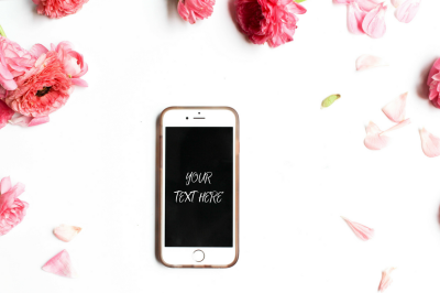 iPhone 6 mockup with Styled Ranunculus