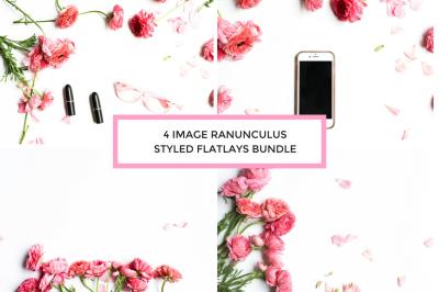 4 Image Ranunculus Styled Flatlay Bundle
