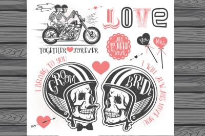 Vintage biker wedding logos