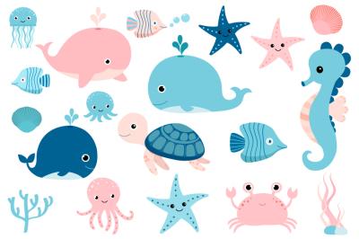 Cute sea animals clipart, Kawaii under sea clip art, seahorse whale turtle octopus jellyfish pink crab fish