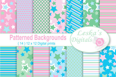 Pink and Blue Digital Paper Pack