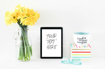 Feminine Daffodils + iPad Mockup