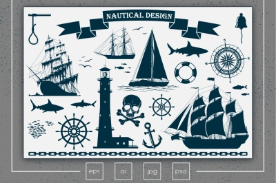 Nautical Design Elements Vector Set