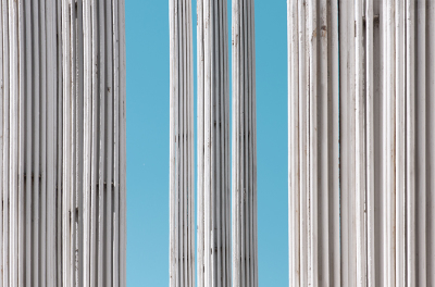 White columns against the background of  the blue sky
