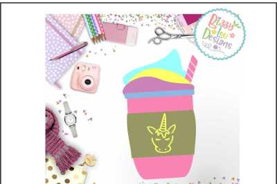 Unicorn Frappe SVG DXF EPS PNG - Cutting file