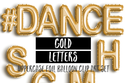 Gold Foil Letter Balloon Clip Art Set