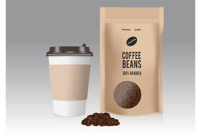 Realistic take away paper coffee cup and brown paper bags