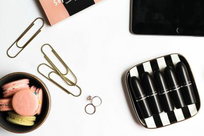 Macaroons + Lipsticks Styled Flatlay for Fashionistas