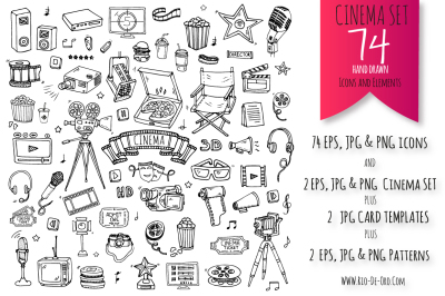 74 Cinema hand drawn elements