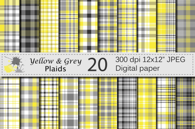 Yellow and Gray Plaid Digital Paper