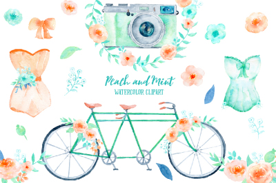 Wedding Clipart Peach and Mint