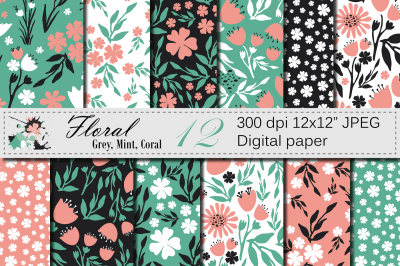 Seamless Floral Digital Paper, Hand Drawn Flowers - Gray Mint Coral