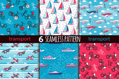 6 transport seamless pattern