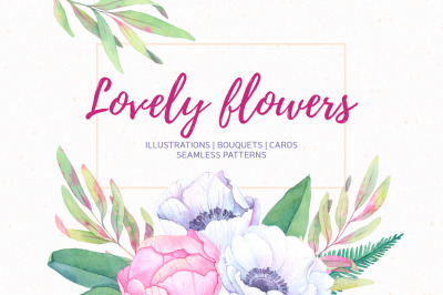 Lovely flowers. Watercolor collection