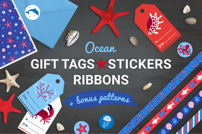Ocean Gift Tags, Stickers, Ribbons + Bonus Patterns