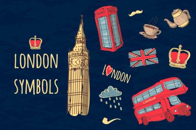 Vector set of hand-drawn London symbols