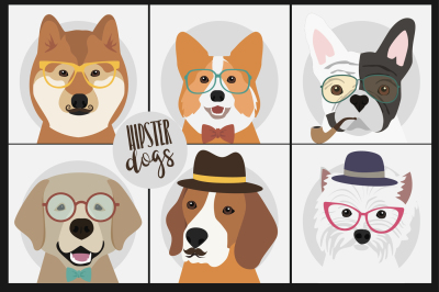 Hipster dogs and people with pet