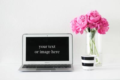 Peonies + Macbook Air Feminine Styled Desktop