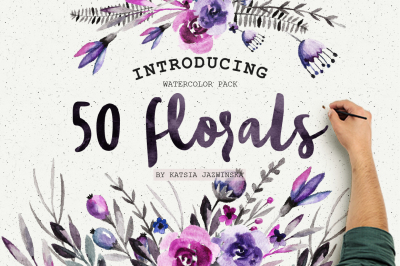 50 Watercolor Flowers Pack