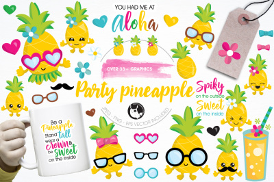 Pineapple party illustrations and graphics