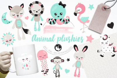Animal plushies illustrations and graphics