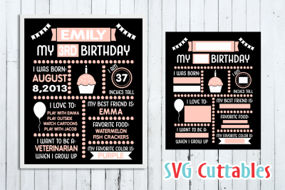 Birthday Board Cut File