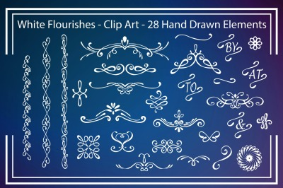 White Flourishes - Clipart