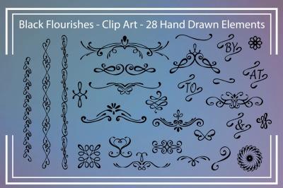 Black Flourishes - Clipart