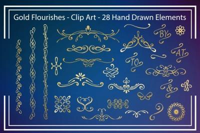 Gold Flourishes - Clipart