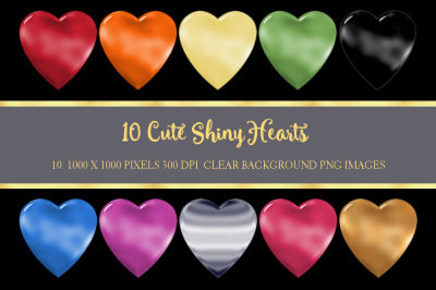 10 Cute Shiny Hearts PNG Clipart