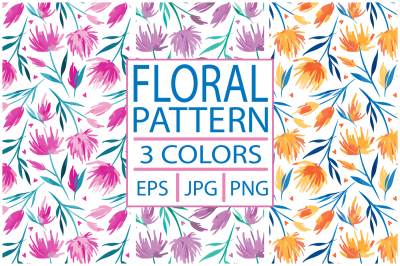 Floral Seamless Pattern in 3 colorways