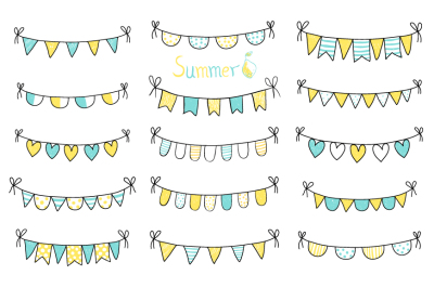 Hand drawn summer doodle bunting, Yellow and blue beach party flags, Birthday bunting