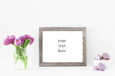 Purple Tulips in Wooden Frame Mockup