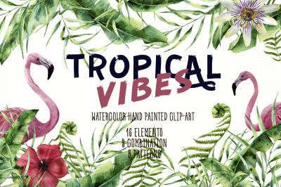 Tropic Vibes. Watercolor design kit