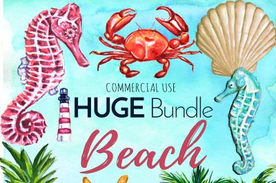 HUGE Watercolor Beach BUNDLE