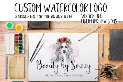 Custom Watercolor Logo Made Just For You On Any Theme