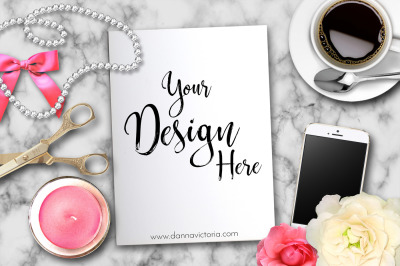 Feminine Artwork Desk Mockup Coffe Iphone Separate Objects Candle in two colors