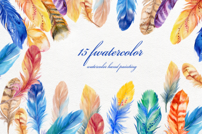 15 bird's feathers ,watercolor
