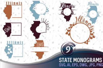 Illinois Monograms SVG, JPG, PNG, DWG, AI, EPS