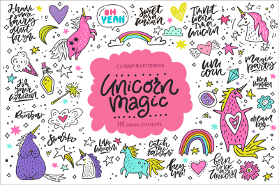 Unicorn Magic: clipart & lettering