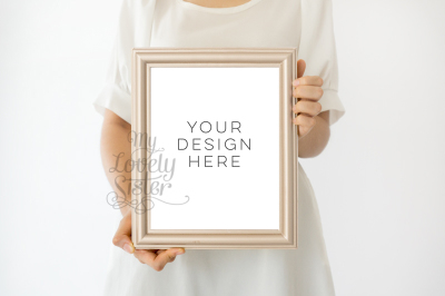 White Mock up Frame, social media template, Smart Object Photoshop, vertical Paper Mockup, White pearl frame, elegant frame mock up