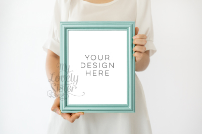 Green frame mock up, backgrounds for your artwork, minimalist mock up, Nursery Image Frame Photo, Kids Frame Photo, Poster Mockup 8x10 inchi