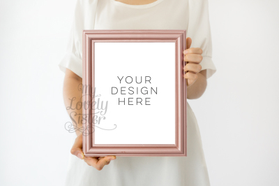 rose gold frame mock up, gold rose mock up frame 8x10, rustic pink gold frame, rose gold mock up frame, Wall Art Display Template Styled