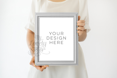 Silver Frame, Girl holding print Wall art Mockup, Minimalist Product Mockup, Girl Holding Frame, Photoshop Mock Up, Styled stock photography