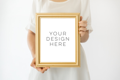 Gold Frame Mockup, 8x10 frame mockup, Girl Holding Poster Mockup, Girl Holding Frame Mockup, digital photoshop backgrounds, Gold mock up