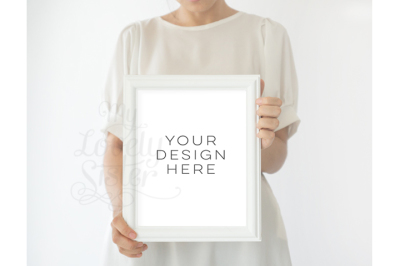 White Frame mockup photography, Styled Stock Photography, 8 x 10 Frame Mockup, 16x20 white frame, frame mock up 24x30, minimal mockup