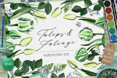 Wedding Watercolor Tulips Set
