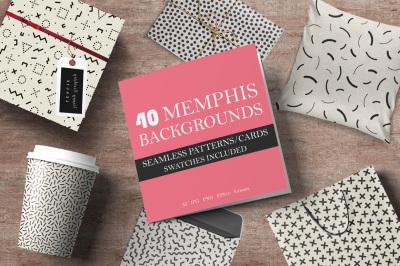 40 Memphis seamless patterns. 80-90s