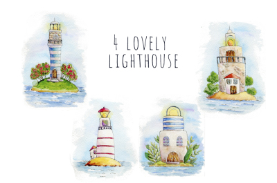Watercolor Lighthouses